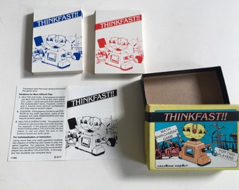 Vintage MATH GAME Thinkfast!   Educational Insights   62 Cards, Two Players