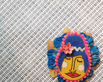 Handpainted Mixed Media Floral Brooch - Ms. Mustard