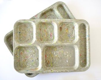 Two Vintage Dallas Ware Cafeteria Trays, Green Confetti, Melamine Tray, Divided Storage, School Lunch Tray, Craft Storage