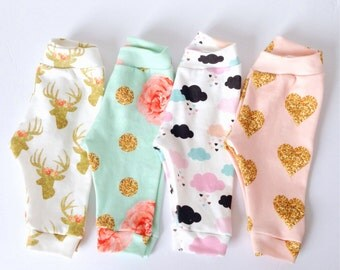 Organic baby girl legging pink clouds gold heart golden buck mint flower spoonflower interlock knit legging with bum pannel