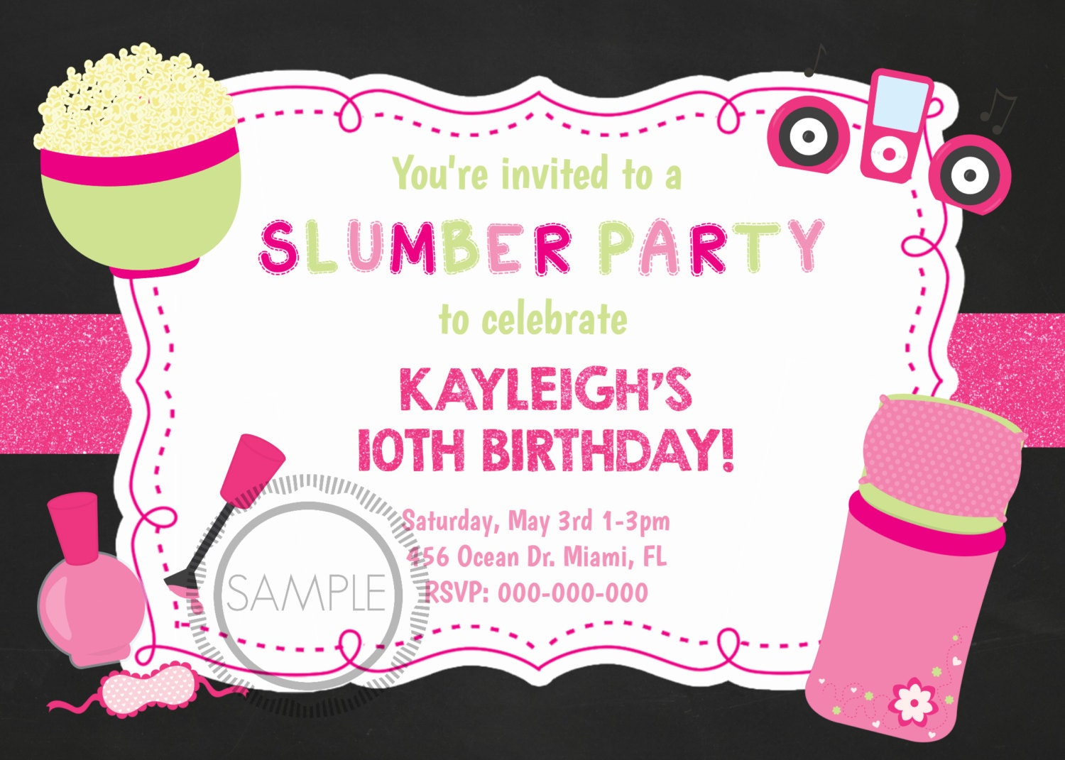 Sleepover Doodle Invitation Tween Party where to buy small ...
