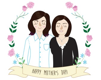 Mother's Day Portrait. A4 print. Digitally coloured. Watercolour paper.