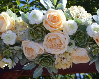 Wedding arch, Rose Arch, Succulent Arch, Wedding Arch, Floral Arch, Silk flower Arch, Cream Wedding Arch, Flower Arch, Wedding Decor, Weddin