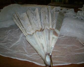 Mother of pearl and Point de Gaze antique fan