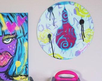 LMNO Middle Finger - Upcycled Vinyl Record Graffiti Pop Art Home Decor