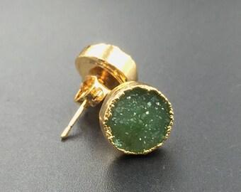 10mm Round Druzy Stud Earrings Sparkly Green Druzy Post Earrings Gold Plated Dazzling Agate Drusy Druzy Earrings 1pair DE40