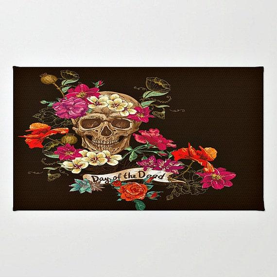 Skull Area Rugs: Sugar Skull Throw Rug Area Rug Dark Brown Floral Day Of The
