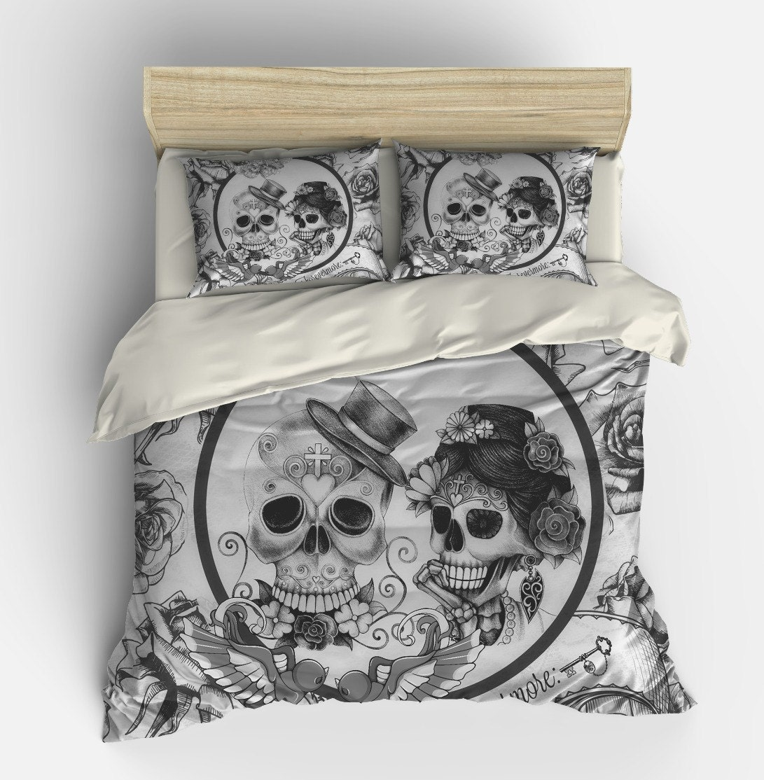 skull bedding day of the dead duvet comforter by folkandfunky. Black Bedroom Furniture Sets. Home Design Ideas