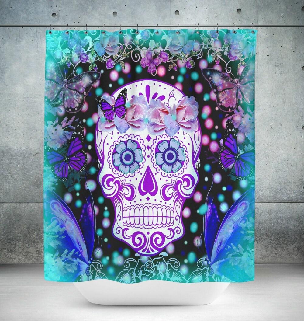 sugar skull shower curtain butterflies flowers roses purple. Black Bedroom Furniture Sets. Home Design Ideas