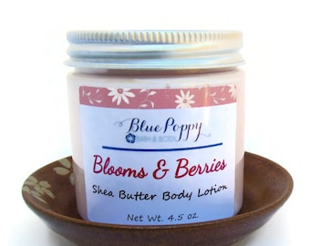 Shea Butter Body Lotion, Blooms & Berries Scented Lotion, Moisturizing Body Butter with Shea, Skin Moisturizer, Floral Lotion, Floral Scent