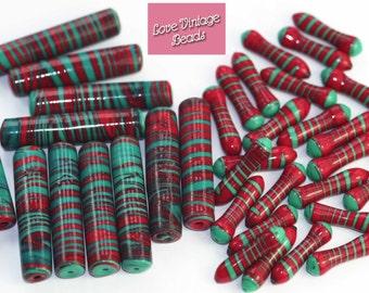 2x Italian Murano Glass Beads Red & Green Vintage Venetian 1960s Fabulous!