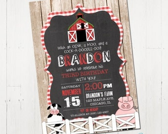 Farm Birthday Invitation, Farm Invitation, Barnyard Invitation, Farm Animal Birthday Invitation,  Printable  Farm Birthday Invitation