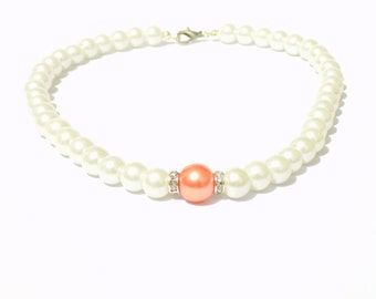 White and orange pearl necklace, white pearl necklace, orange pearl necklace, beaded necklace, bridesmaid necklace, bridal necklace
