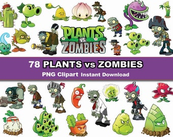 Instand DL -78x Plants VS Zombies clipart - printable Digital Clipart Graphic Instant Download