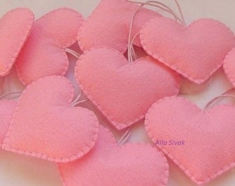 Set of 10 pink heart decorations, wedding favors, Pink wedding heart ornaments, girl baby shower favors, Valentine's day heart decorations,