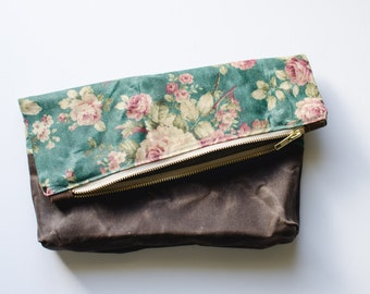 Vintage Floral Waxed Canvas Fold Over Clutch Bag