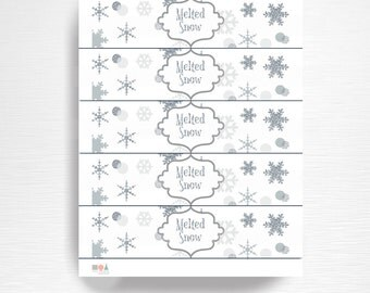 Melted Snow Birthday Party Water Bottle Labels Instant Download Silver Grey Winter Wonderland