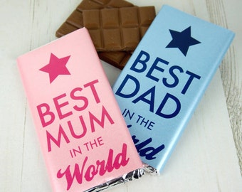 Best Mum/Dad in the world chocolate bar - father's day gift - personalised chocolate