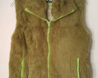 Vintage Green Angora Rabbit Fur Vest size M