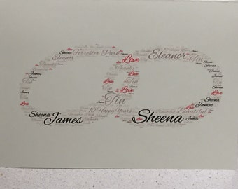 A5 Wedding Anniversary Word Art Card, Typography, Word Cloud, Word Shape, Wedding, Anniversary