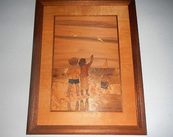 Vintage Hudson River Wood Inlay Wall Art or Marquetry -Children on the Beach, Jeffery Nelson,NY -1980s -wall decor, wall hanging, wooden art