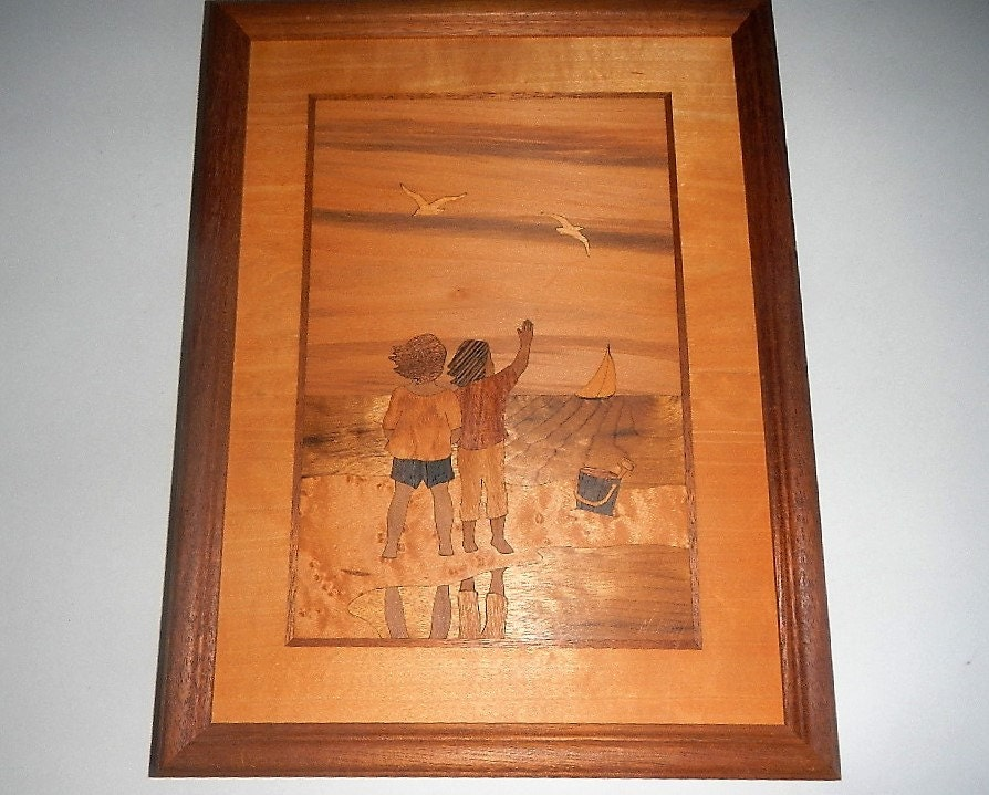 Wood Inlay Wall Decor : Vintage hudson river wood inlay wall art or marquetry