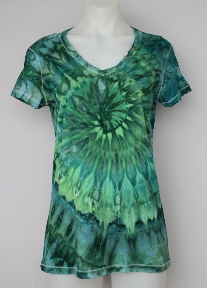 Tie Dye T-shirt Ice Dyed V Neck Tee Shirt Size Large
