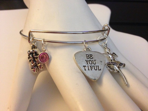 Dance Pretty Ballerina Be You Tiful Expandable Bangle Bracelet with Charms