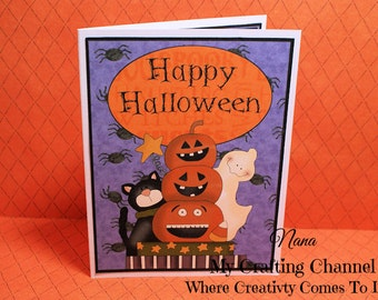 Happy Halloween From Our Gang to Yours Halloween Card-Pumpkin Card-Cat Card-Ghost Card-Halloween-Halloween Card-Greeting Card-Handmade Card