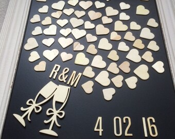 Wooden Wedding Guest book Alternative - up to 70 hearts - 100 guests - Sign in Rustic guestbook - Vintage decor