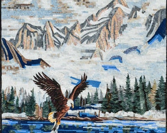 Rising Eagle in the mountains Marble Mosaic