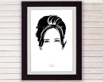 Adele poster, adele hello, minimalist poster, portrait illustration