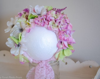 Floral Bonnet, Flower bonnet , Flower Hat, Photo Prop, Pink, Ivory and Green Flower Bonnet.