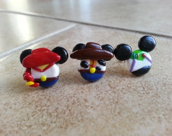 Toy Story Inspired Mouse Earrings-Woody Clay Earrings-Buzz Lightyear Clay Earrings-Jesse Clay Earrings