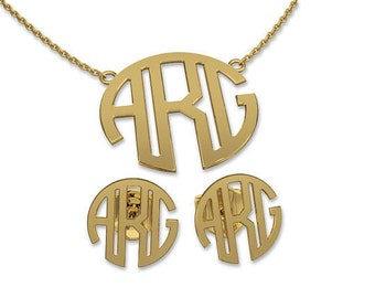 Custom Earring and Necklace Set Gold Plated (G)