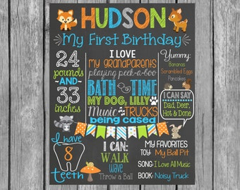 Forest First Birthday - Woodlands First Birthday - Personalized Printable Chalkboard Design