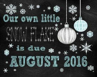Winter Snow Flake Pregnancy Announcement *printable*