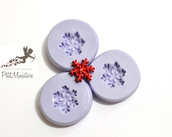 Silicone mold Snowflake Christmas 12mm -Stampo-mold Jewels charm Kawaii ST243