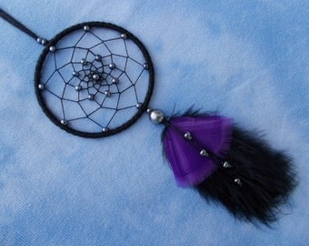 3'' Black Dreamcatcher With Hematite and Black-Purple Feathers - Wall Hanging Gothic Home Decor - Car Mirror Ornament -Wicca Dream Catcher
