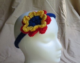 Crochet Headband with Attached Flower in Primary Colors