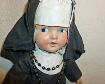 Vintage Catholic Nun Composition Doll From the 1950's