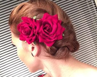 2 x Red Velvet  Rose hair flower clip corsage fascinator