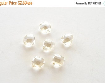 7 DAY SALE Faceted Crystal  Briolette Beads, Champagne,  12x12mm, 5 beads, Crystal Teardrops