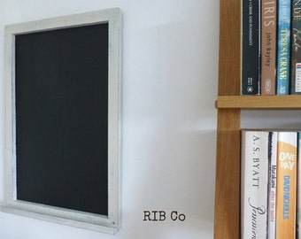 Blackboard / chalkboard - Handmade. Aged white frame with chalk holder.