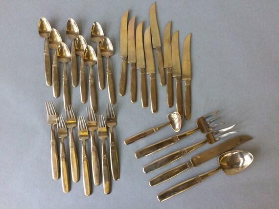 Vintage thailand bronze flatware 28 pieces in total gold - Thailand silverware ...