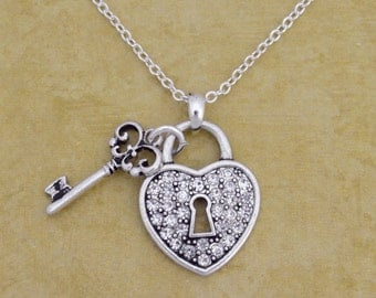 Heart Lock and Key Necklace - 57293
