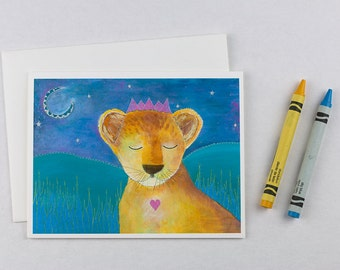 Set of 6 note cards. Blank card set. Just because gifts. Animal baby shower. Lion card. Cards for kids. Illustration cards. Children's cards