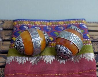 Two Large Tibetan Amber Resin Focal Beads