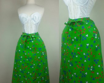 70s Wrap Skirt Novelty Print Lady Bugs with Pockets XS