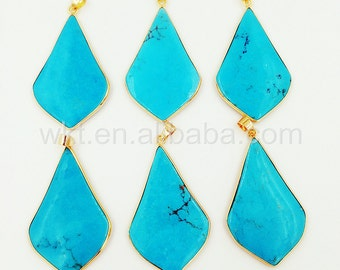 WT-P840 New In Stock Wholesale Long drop Natural Blue Turquoise pendant,Handmake Jewelry Blue turquoise with goldplated pendant for necklace